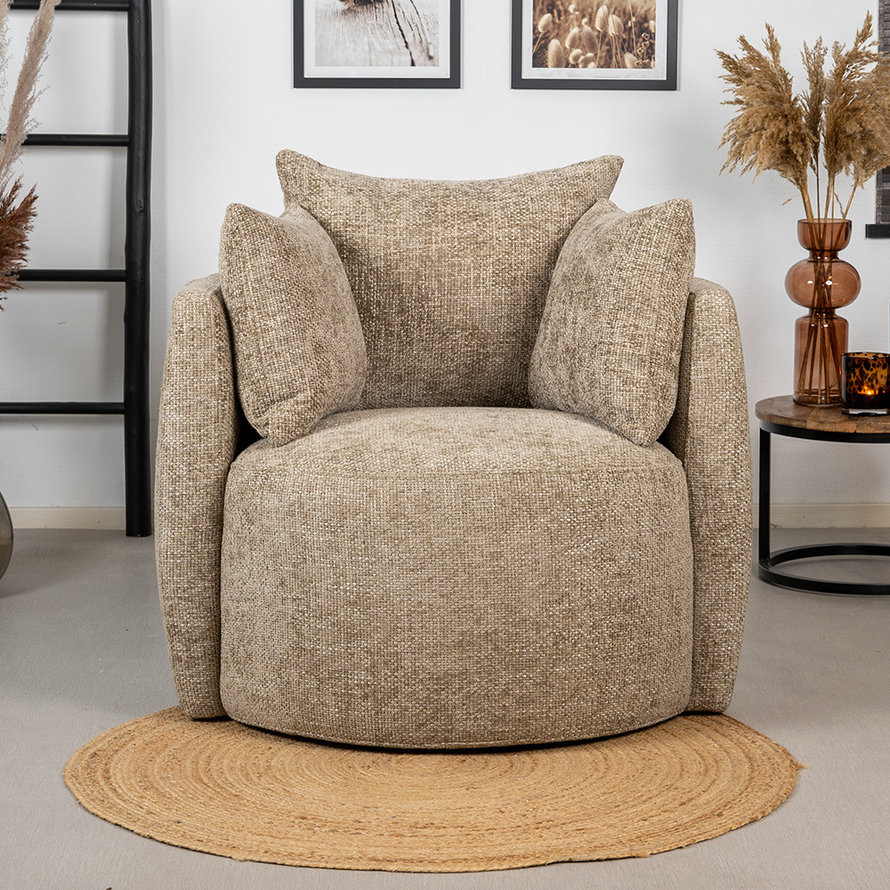 Fauteuil Ruby chenille stof taupe