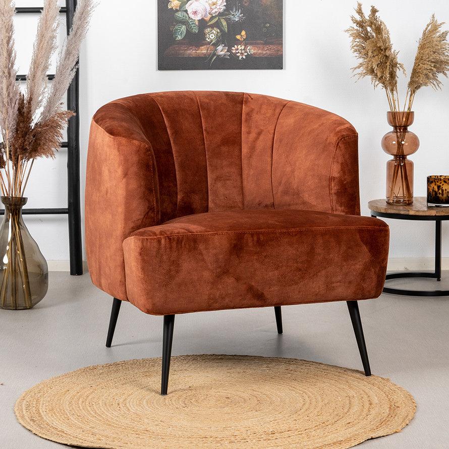 Velvet fauteuil Billy koper