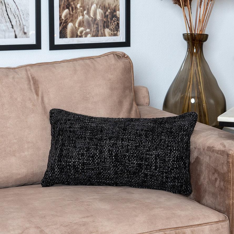 Sierkussen Feline chenille stof zwart 25 x 45 cm