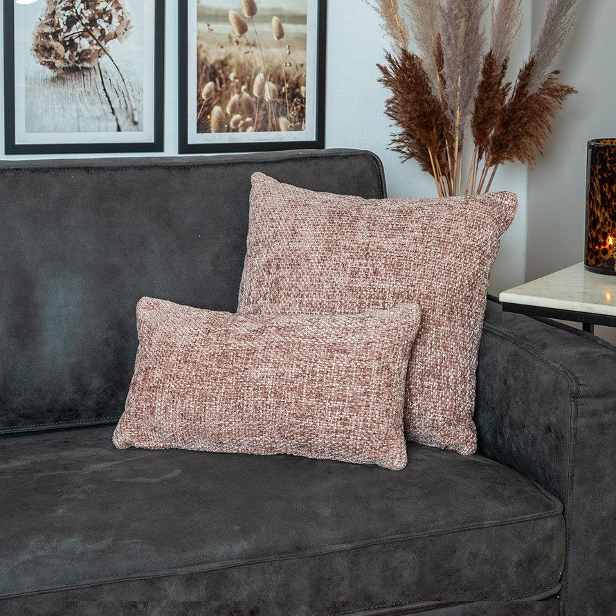 Sierkussen Feline chenille stof roze 45 x 45 cm