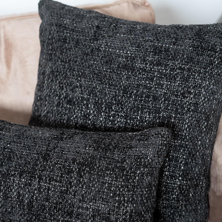 Sierkussen Feline chenille stof zwart 45 x 45 cm
