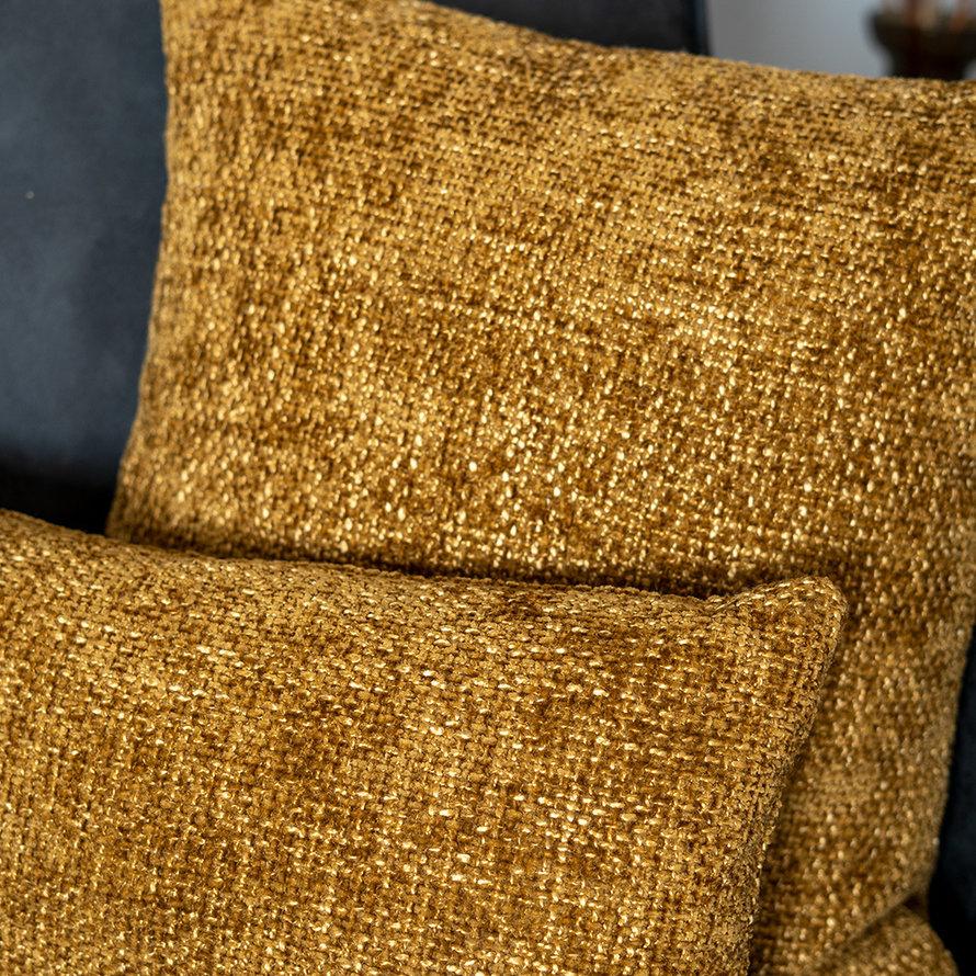 Sierkussen Feline chenille stof okergeel 45 x 45 cm