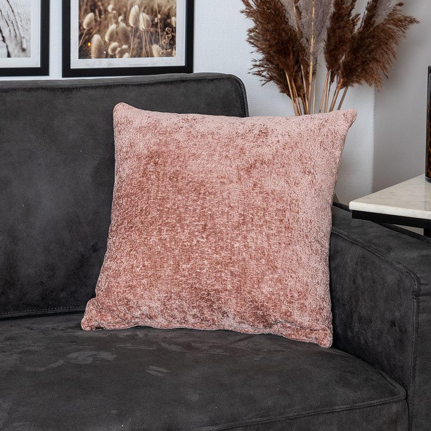 Sierkussen Juna chenille stof roze 45 x 45 cm