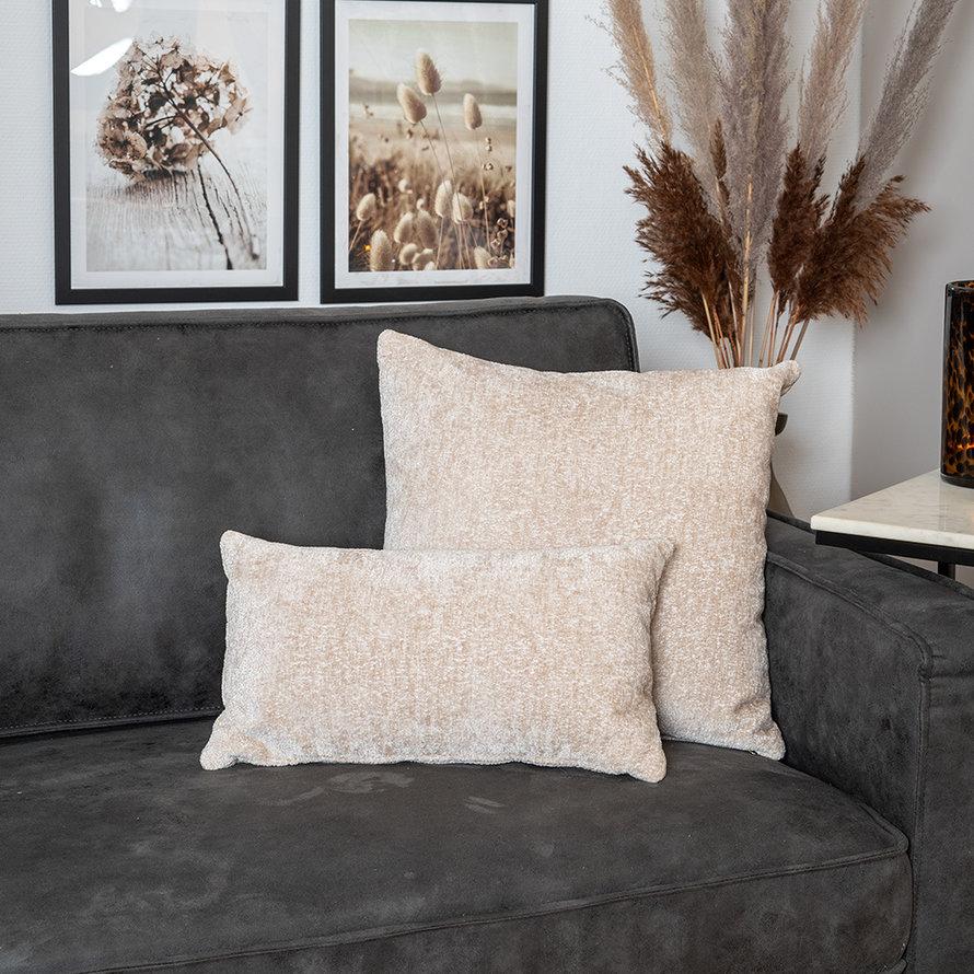 Sierkussen Juna chenille stof wit 45 x 45 cm