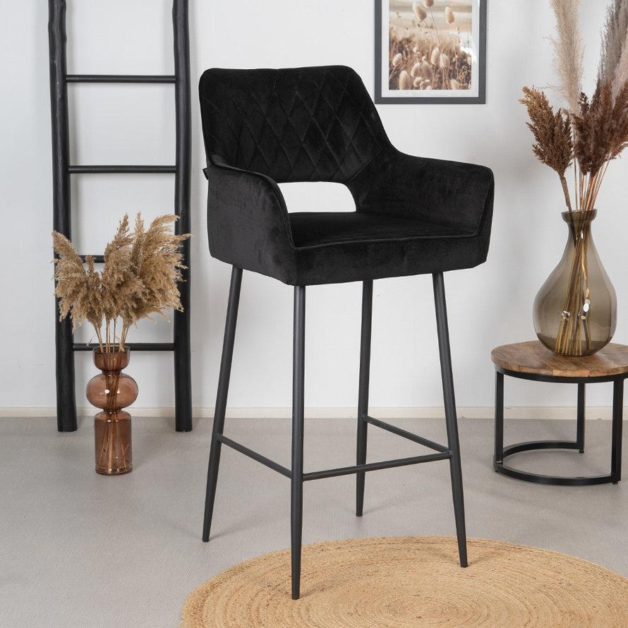 Velvet barkruk Mika zwart 78 cm