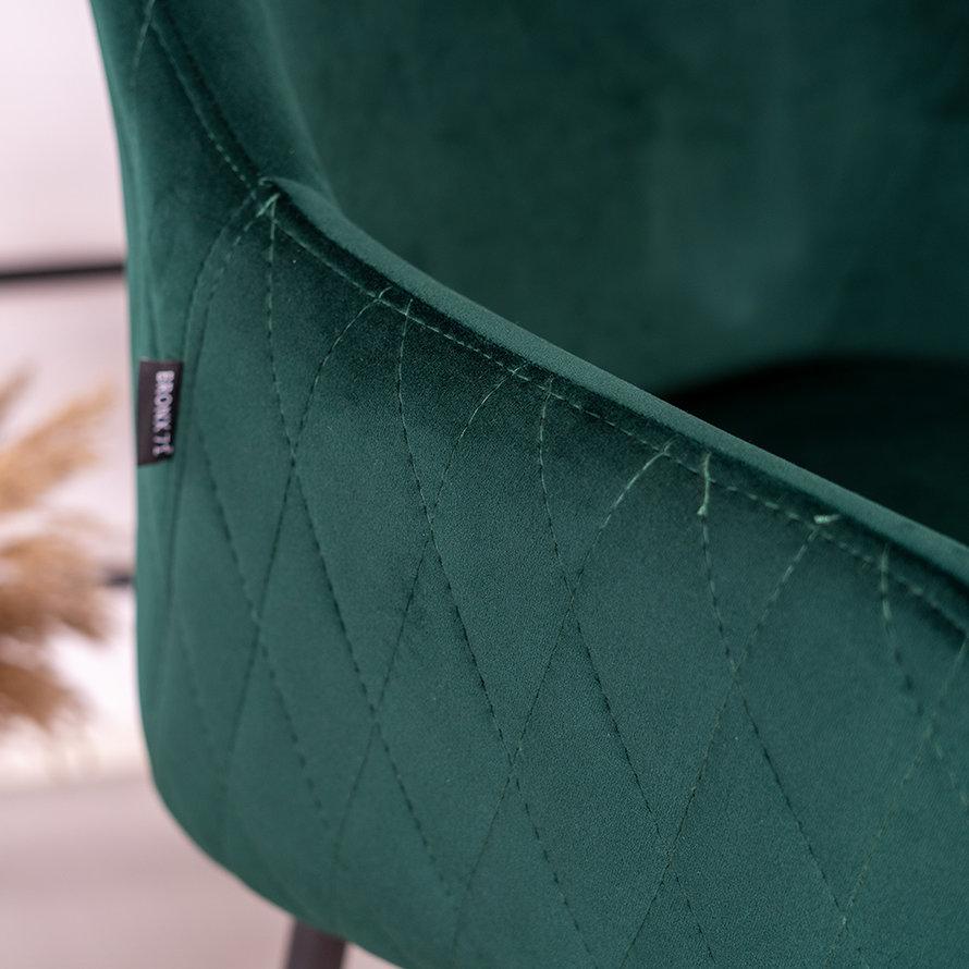 Velvet barkruk Nelly donkergroen 78 cm