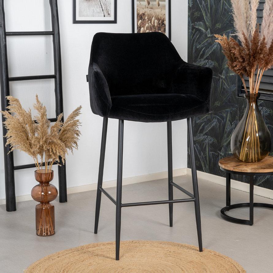 Velvet barkruk Nelly zwart 78 cm