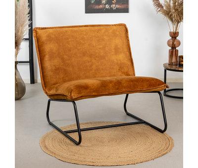 Bronx71 Velvet fauteuil Paris okergeel/cognac bruin