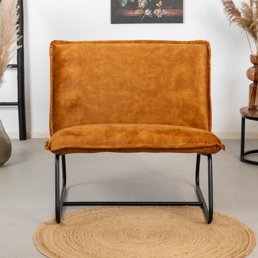 Velvet fauteuil Paris okergeel/cognac bruin