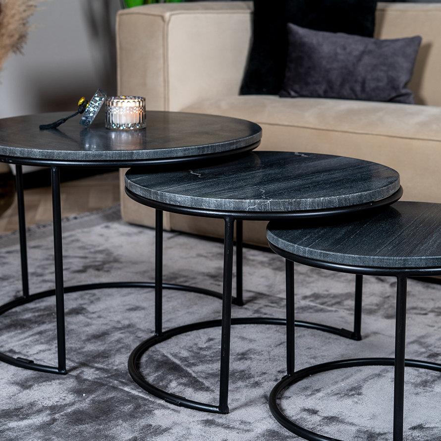 Marmeren salontafel set Bruce zwart (3 stuks)