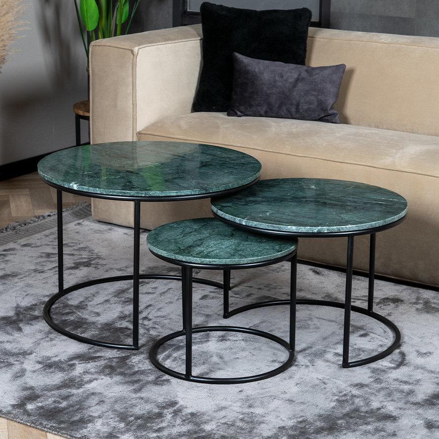Marmeren salontafel set Bruce groen (3 stuks)