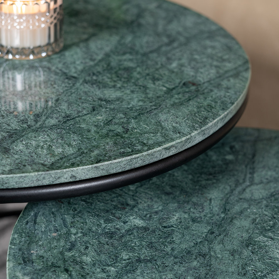 Marmeren salontafel set Mia groen (2 stuks)