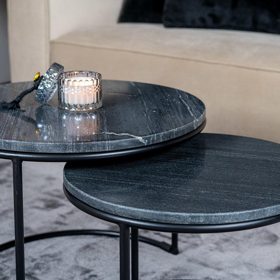 Marmeren salontafel set Mia zwart (2 stuks)