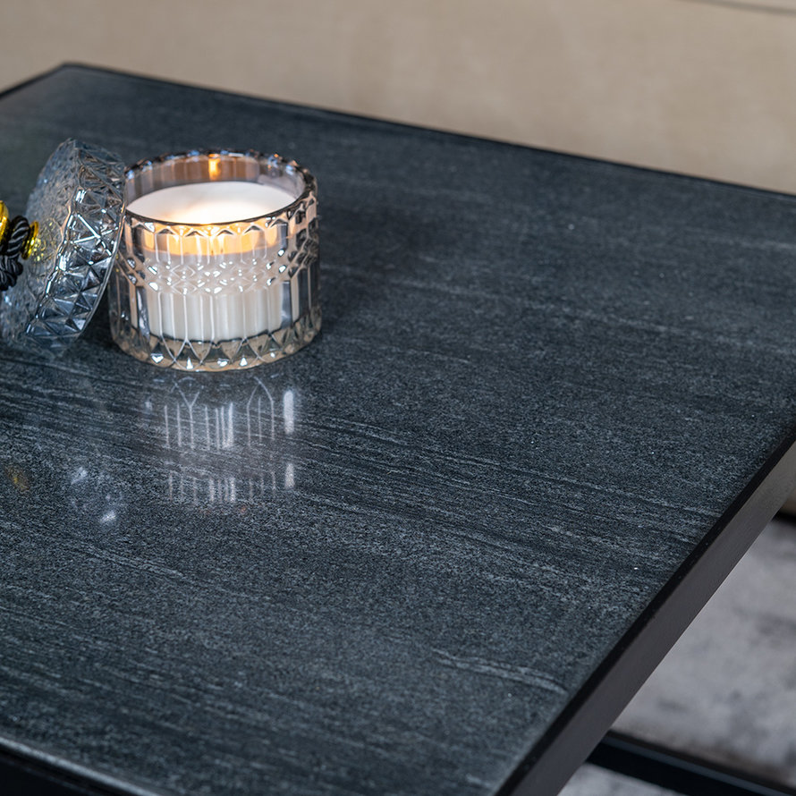 Salontafel marmer Max 54 x 54 cm zwart