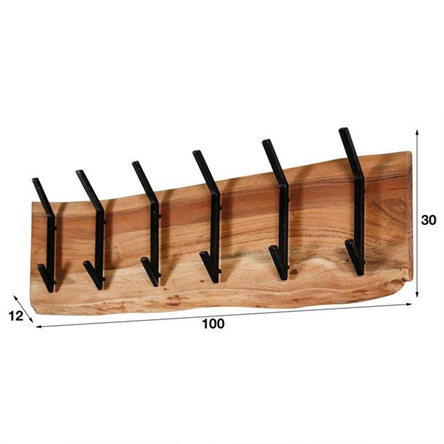 Kapstok Magda acaciahout 100 cm 12  haaks