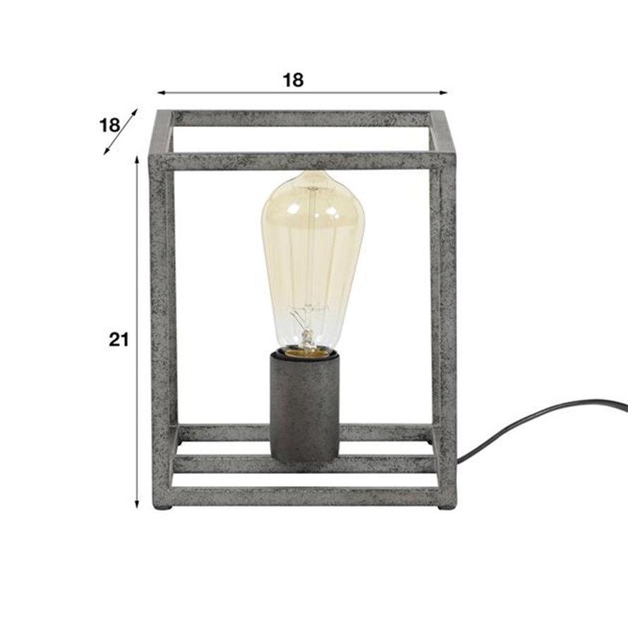Industriële tafellamp Tyler 1-lichts oud zilver