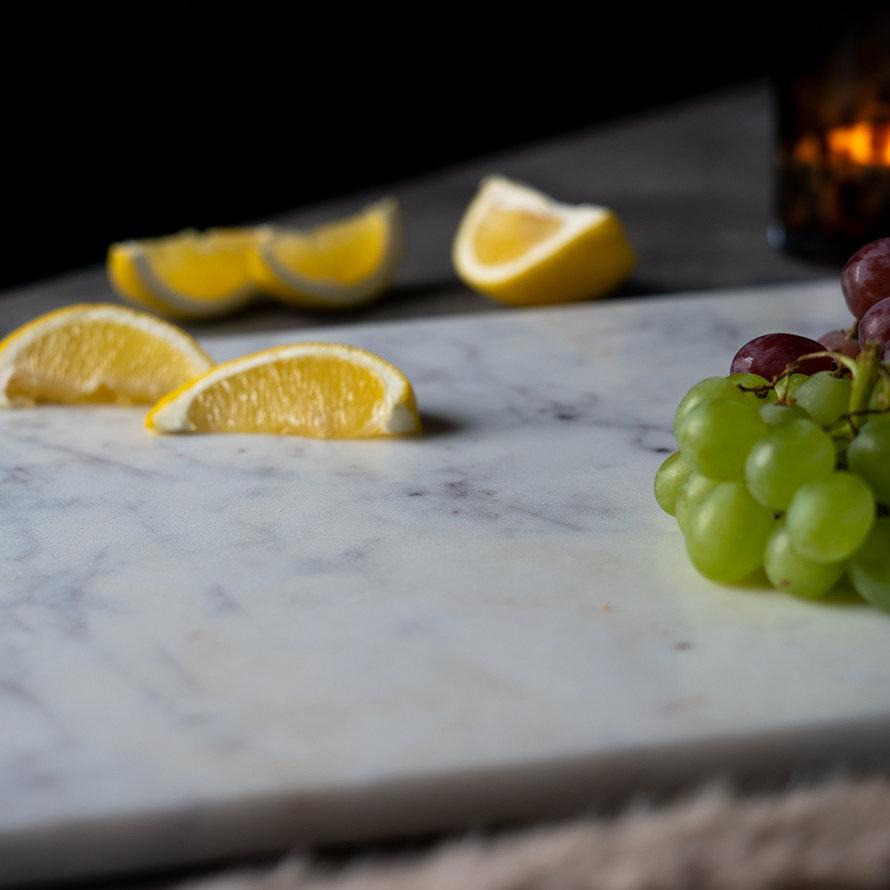 Marmeren dienblad Fauve 30 x 50 cm wit