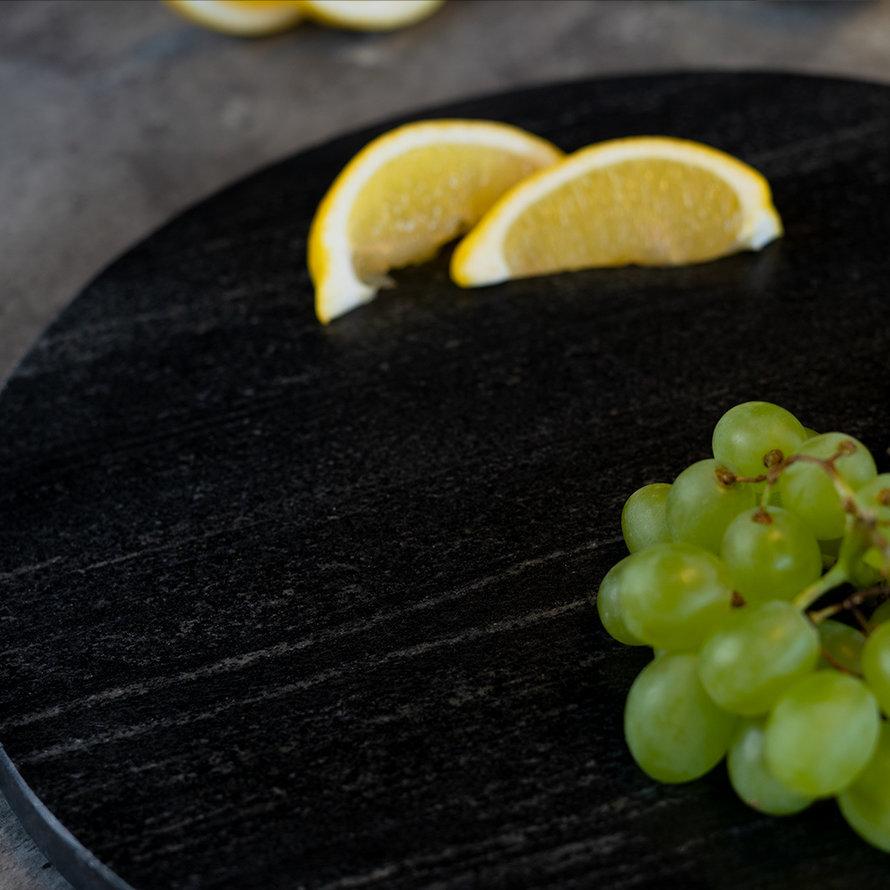 Marmeren dienblad rond Lilou 40 cm zwart
