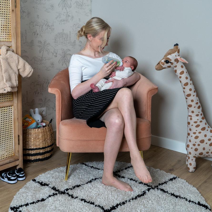 Stoel babykamer Amy velvet blauw