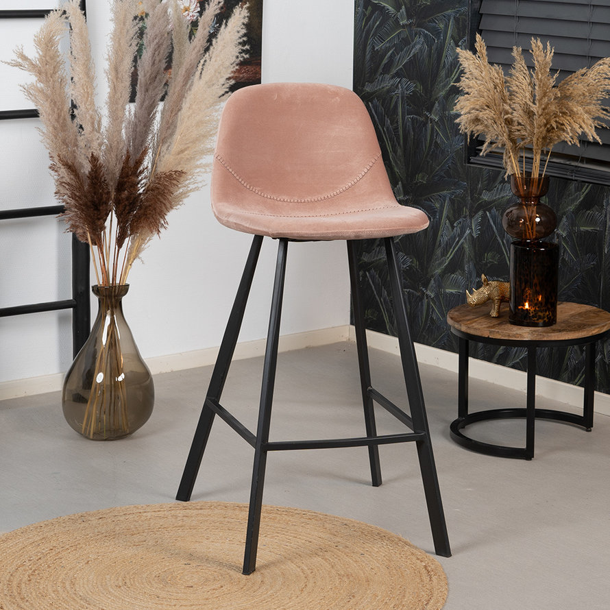 Velvet barkruk Logan roze 70 cm