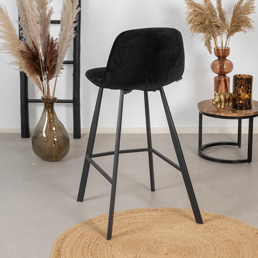 Velvet barkruk Logan zwart 70 cm