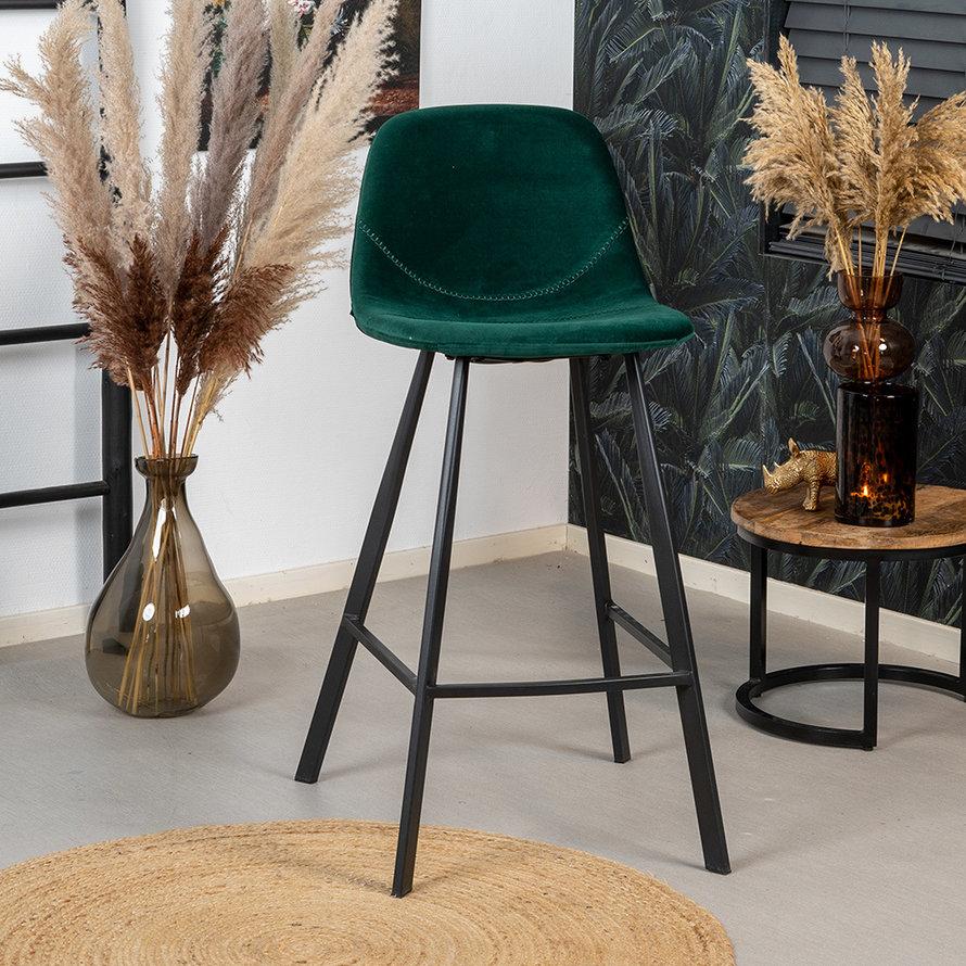 Velvet barkruk Logan groen 70 cm