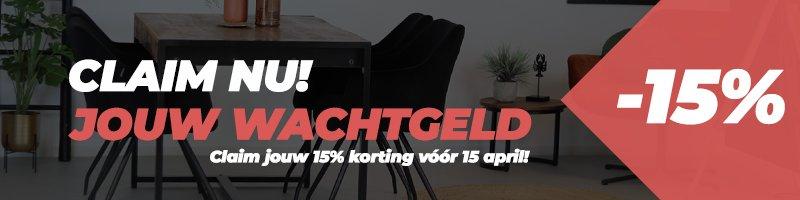 """Nu 15% extra """"wachtgeld"""" korting! Code: WACHTGELD"""