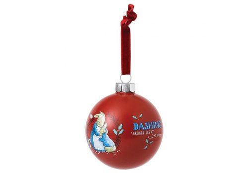 Beatrix Potter Mrs. Rabbit & Peter Rabbit Merry Christmas Bauble