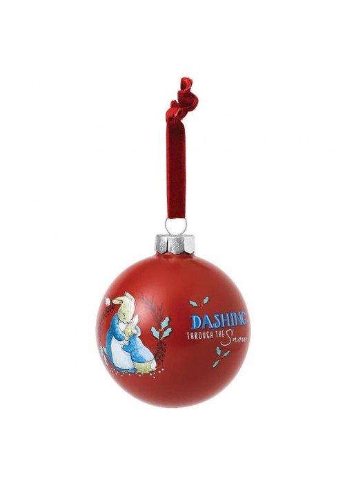 Beatrix Potter Mrs. Rabbit & Peter Rabbit Merry Christmas Bauble