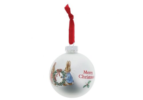 Beatrix Potter Peter Rabbit and Flopsy Holding Holy Wreath Bauble - Beatrix Potter