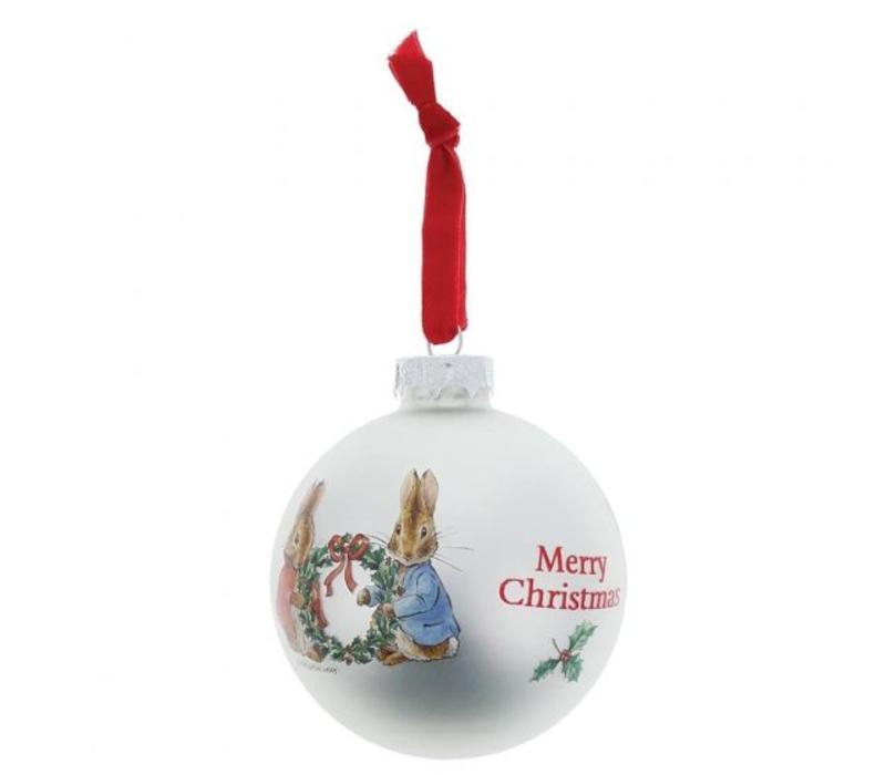 Beatrix Potter - Peter Rabbit and Flopsy Holding Holy Wreath Bauble