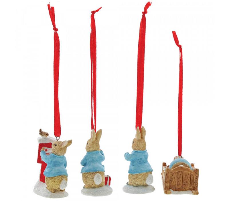 Beatrix Potter - Peter Rabbit Set of 4 Hanging Ornaments
