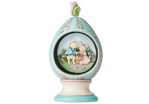 Heartwood Creek Revolving Egg with Bunnies and Chicks Scene