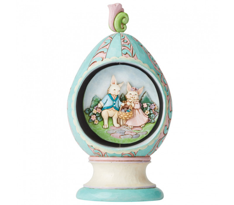Heartwood Creek - Strolling Through Spring (Revolving Egg with Bunnies and Chicks)