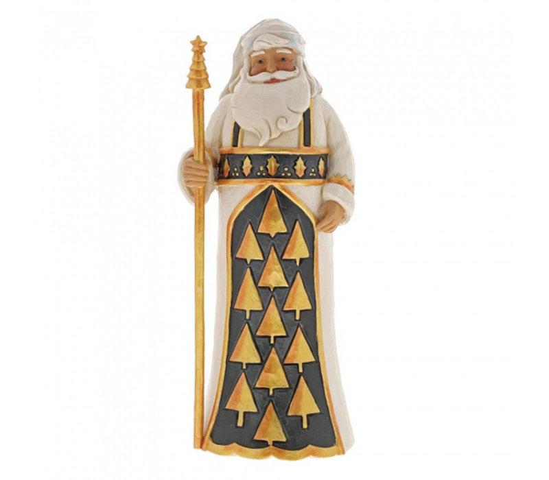 Heartwood Creek - Season So Splendid (Black & Gold Santa with Staff)