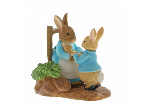 Beatrix Potter At Home by the Fire with Mummy Rabbit