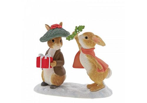 Beatrix Potter Flopsy and Benjamin Bunny Under the Misteltoe