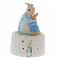 Beatrix Potter - Mrs. Rabbit and Peter Ceramic Musical