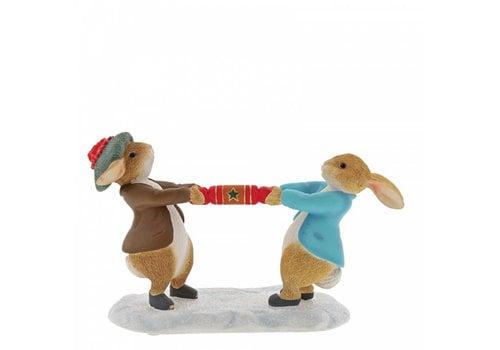 Beatrix Potter Peter Rabbit and Benjamin Pulling a Cracker - Beatrix Potter