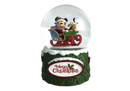 Disney Traditions Laughing All the Way (Mickey and Pluto Christmas Waterball) - Disney Traditions