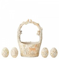 Heartwood Creek - Find Your Path (White Woodland Easter Basket with 4 Eggs)