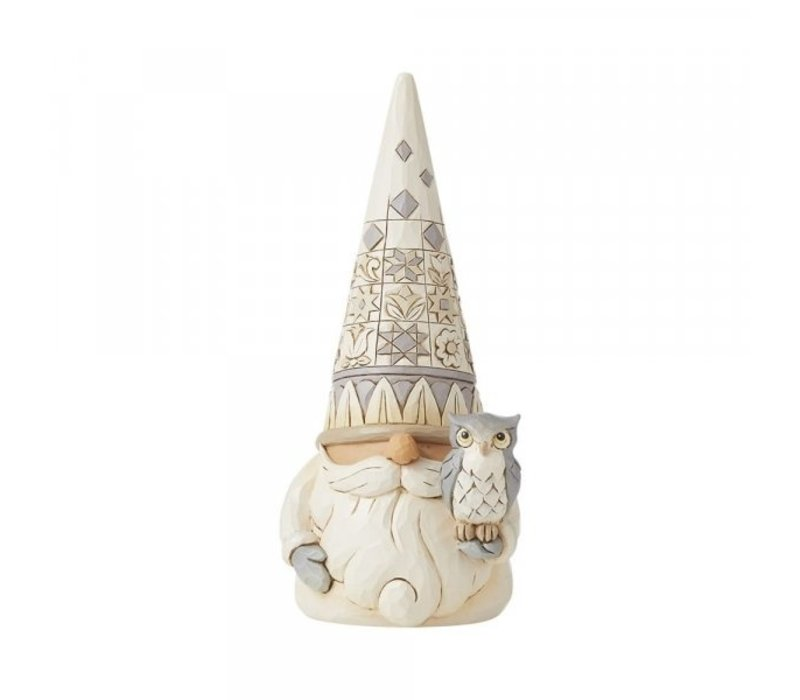 Heartwood Creek - Gnome with Owl (White Woodland Gnome)