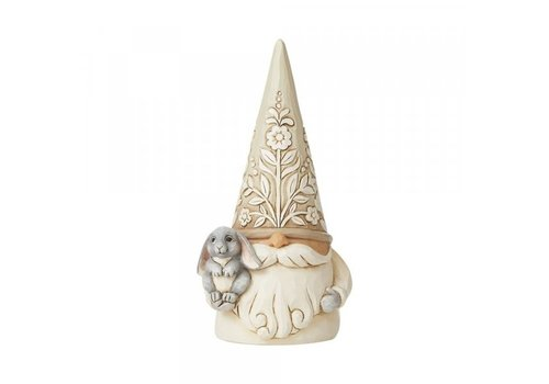 Heartwood Creek Gnome with Bunny (White Woodland Gnome) - Heartwood Creek