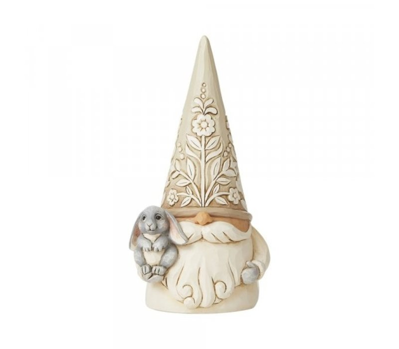 Heartwood Creek - Gnome with Bunny (White Woodland Gnome)
