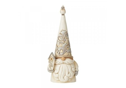 Heartwood Creek Gnome with Bird (White Woodland Gnome) - Heartwood Creek