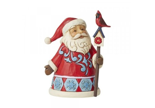 Heartwood Creek Mini Santa with Cardinal Birdhouse - Heartwood Creek