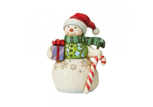 Heartwood Creek Mini Snowman with Gift and Candy Cane - Heartwood Creek
