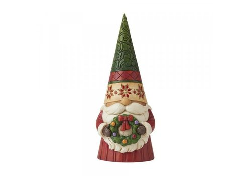 Heartwood Creek Decorating Gnome and Hearth (Christmas Gnome holding Wreath) - Heartwood Creek