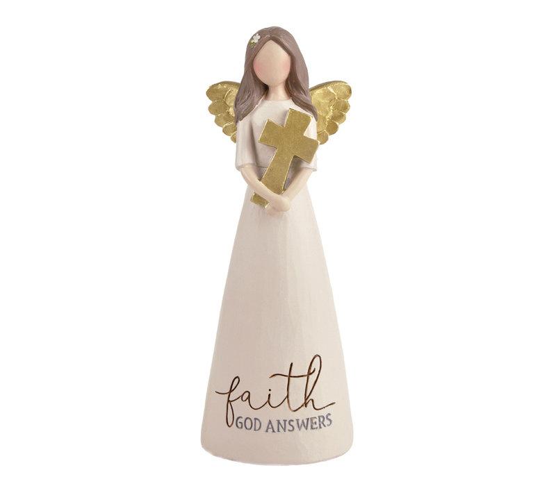 UniekCadeau - Faith - God Answers (Angel with cross)