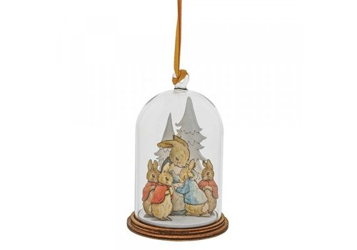 Beatrix Potter Peter Rabbit and Family at Christmas Wooden Hanging Ornament - Beatrix Potter